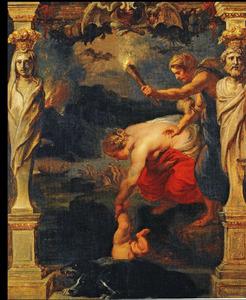 Thetis dompelt Achilles in de Styx