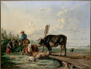 Landschap met dieren en figuren