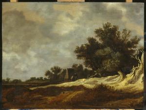 Duinlandschap met enkele figuren voor een boerderij