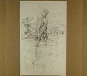 Studie van een soldaat in een landschap