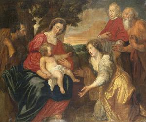 De H. Familie met  aanbeden door de HH. Catharina van Siena (?),  Hieronymus en een kardinaal
