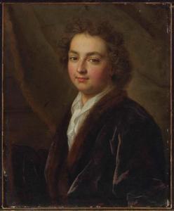 Portret van een man in fluwelen mantel met bontkraag