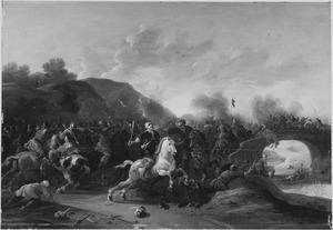 Ruitergevecht tussen Europese en Turkse soldaten bij een brug over een rivier