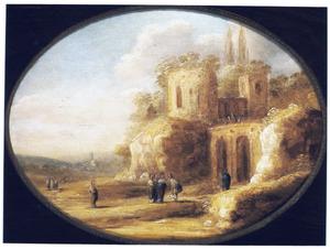 Landschap met ruïne en Christus die een blinde geneest