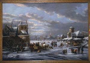 Winterlandschap buiten de wallen van een stad