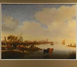 Rivierlandschap met twee koeien in het water