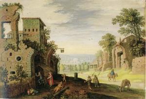 Zuidelijk landschap met een herberg in een ruïne en twee pelgrims