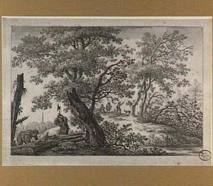 Boslandschap met houthakkers en jagers