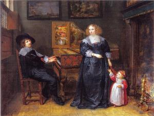 Portret van een jong echtpaar met hun kind rond een klavecimbel