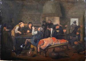 Feestende en slapende boeren in een herberg