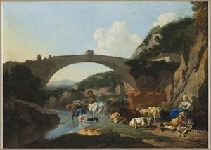 Zuidelijk landschap met herders en hun kudde rustend bij de brug van Francheville