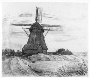 Oostzijdse mill in moonlight: compositional study