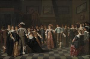 Elegant gezelschap met dansend paar en drie muzikanten in een interieur