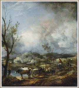 Duinlandschap met reizgers, boeren en een eendenjager