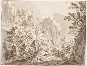 Berglandschap met kasteel op een steile rots