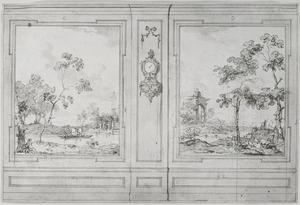 Wand met twee behangselvlakken ter weerszijden van een tussenpaneel met consoleklok