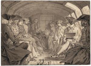 Kunstenaars en andere passagiers in de roef van de Haarlemmer trekschuit
