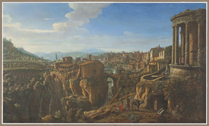 Gezicht op Tivoli met  de tempel van Vesta en de San Martinobrug