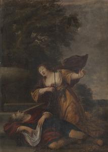 Thisbe pleegt zelfmoord als ze het vermeende lijk van Pyramus vindt Méléager en Atalanta ('Méagre [sic] et Atalante']
