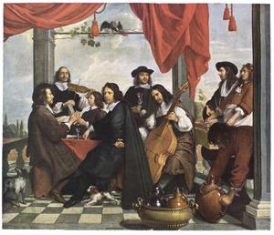 Groepsportret van musicerende mannen