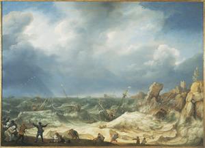 Schipbreuk van verschillende schepen op een rotsachtige kust