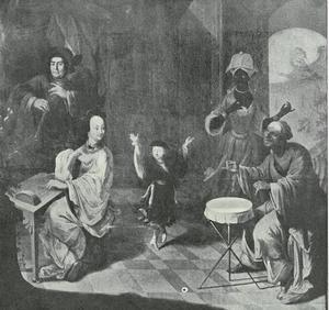 Een Chinese vrouw spelend op een Chinese pipa, een Japanner  trommelend en een Europese man spelend op een hobo, terwijl een kleine mens danst en een zwarte vrouw toekijkt