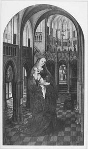 Maria met kind in een kerkinterieur