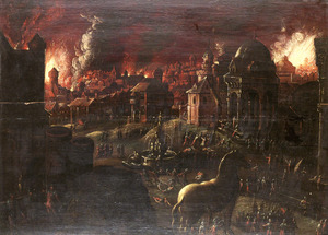 Gezicht op de brandende stad Troje, links op de voorgrond de vlucht van Aeneas