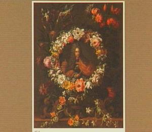 Portret van keizer Karel VI (?) in een bloemenkrans
