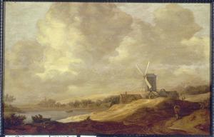 Heuvellandschap met windmolen