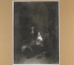 Interieur waarin een vrouw een kind de borst geeft