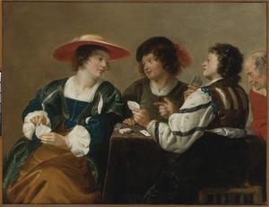 Een vrouw met drie mannen,  kaartspelend aan een tafel