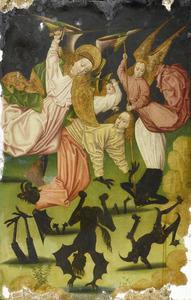 De aartsengel Michael en twee ander engelen bevechten Lucifer