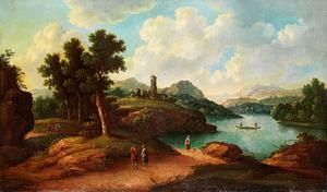 Italianiserend landschap met een meertje