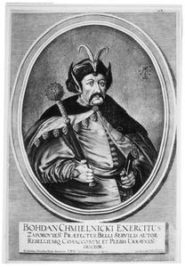 Karikaturaal portret van Bohdan Khmelnyckyi (1595-1657), bevelhebber van de Oekraïnse Kozakken