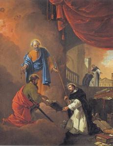 Het visioen van de H. Dominicus: Petrus en Paulus  geven hem opdracht het Evangelie te prediken (een herdersstaf en een Evangelie); in de achtergrond Dominicus die zijn medebroeders paarsgewijs uitzendt om missie te bedrijven in Frankrijk