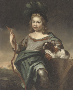 Jongensportret in klassieke kleding met pijlenkoker en boog en met een hond