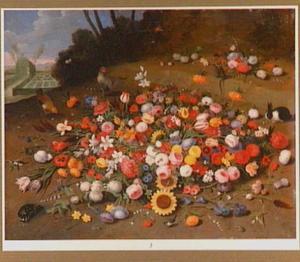 Bloemstilleven schildpad, konijn en kippen in een landschap