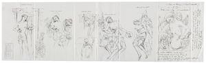 Schetsen naar de volgende schilderijen of details daaruit: Anoniem, Zuidelijke Nederlanden (gerestaureerd door Jef Van der Veken), Christus als Man van Smarten en een benedictijnse monnik (New York, The Metropolitan Museum of Art, inv.nr. 1974.392 [voorheen Brugge, collectie Emile Renders]); Navolger van de Meester van Flémalle (Robert Campin), Man van Smarten met engelen (Gent, Museum voor Schone Kunsten, inv.nr. 1904-A); Naar de Meester van Flémalle (Robert Campin), Mis van de H. Gregorius (New York, particuliere collectie [voorheen Hamburg, collectie Eduard F. Weber]); Naar de Meester van Flémalle (Robert Campin), H. Drieëenheid met engelen (Leuven, M – Museum Leuven, inv.nr. 8); Meester van Flémalle (Robert Campin), H. Drieëenheid (Frankfurt am Main, Städelsches Kunstinstitut, inv.nr. 39B); Meester Francke, Man van Smarten met engelen (Leipzig, Museum der bildenden Künste, inv.nr. 243)