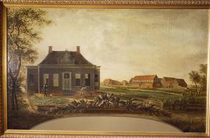 Gezicht op het huis Kerkbuurt 23 te Oostzaan met op de achtergrond de stijfselmakerijen