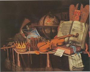 Vanitasstilleven met muziekinstrumenten, hemelglobe en regalia op een gedekte tafel