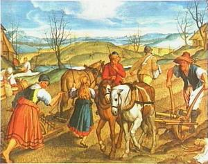 Maart: eggende en ploegende boeren