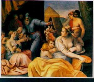 Rachel verstopt de terafim onder het zadel van de kameel, terwijl Laban tevergeefs zoekt (Genesis 31:34)