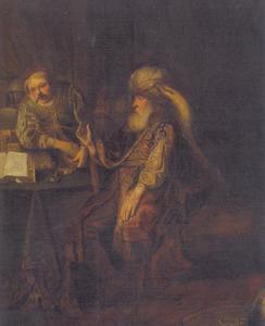 De gelijkenis van de ponden: een dienaar, die handel gedreven heeft geeft tien ponden terug aan zijn heer (Lucas 19:16)