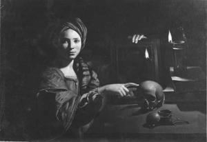 Vanitas met vrouw met tulband