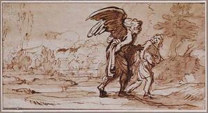 Landschap met Tobias en de engel Raphaël op reis (Tobit 6:1)