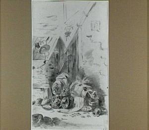 Potten, emmers en tonnen bij een schuur