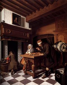 Goudweger met een vrouw en een jongen in een interieur bij de haard