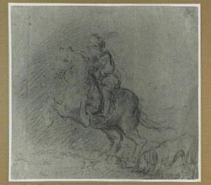 Ruiter te paard en een hond