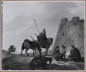 Tartaarse soldaten bij een kampvuur